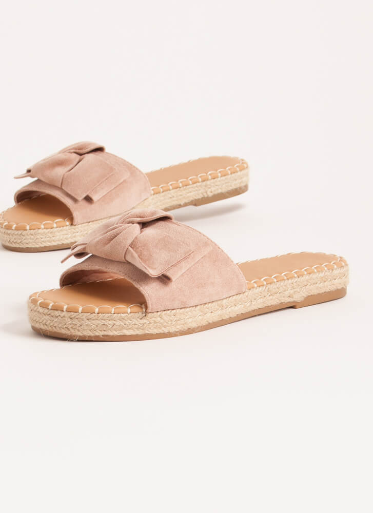 Bow With The Flow Braided Slide Sandals DESERTROSE
