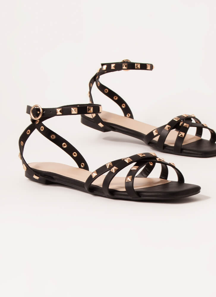 Edgy Side Strappy Studded Sandals BLACK