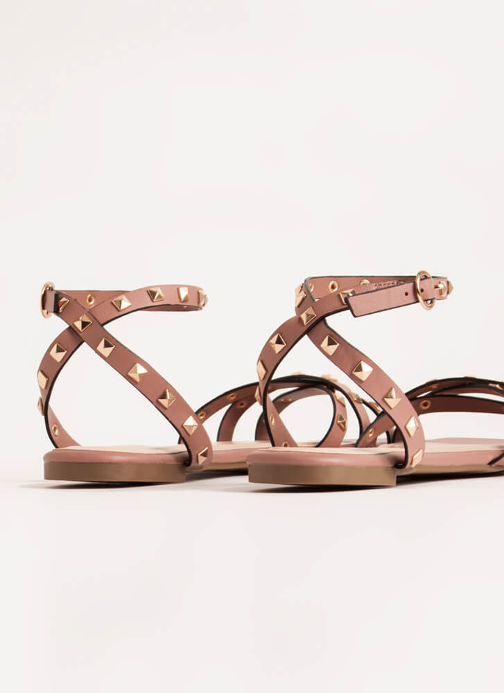 Edgy Side Strappy Studded Sandals TERRACOTTA
