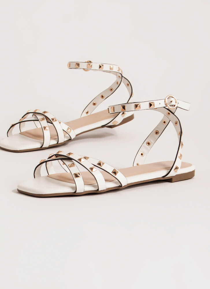 Edgy Side Strappy Studded Sandals WHITE