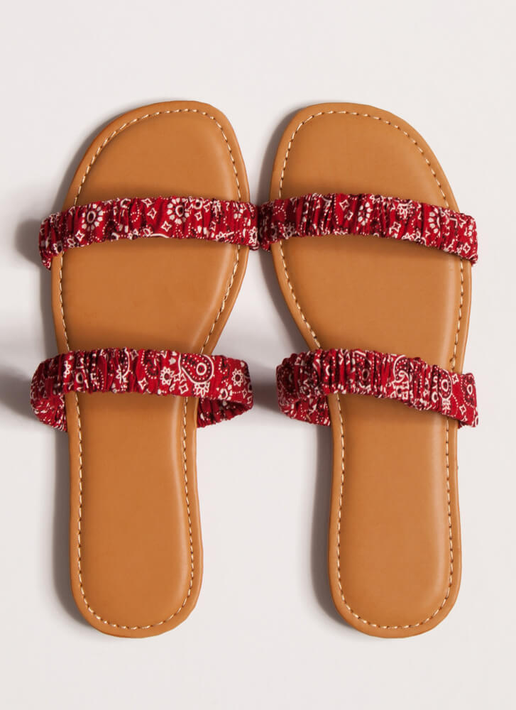 It's Scrunch Time Printed Slide Sandals RED