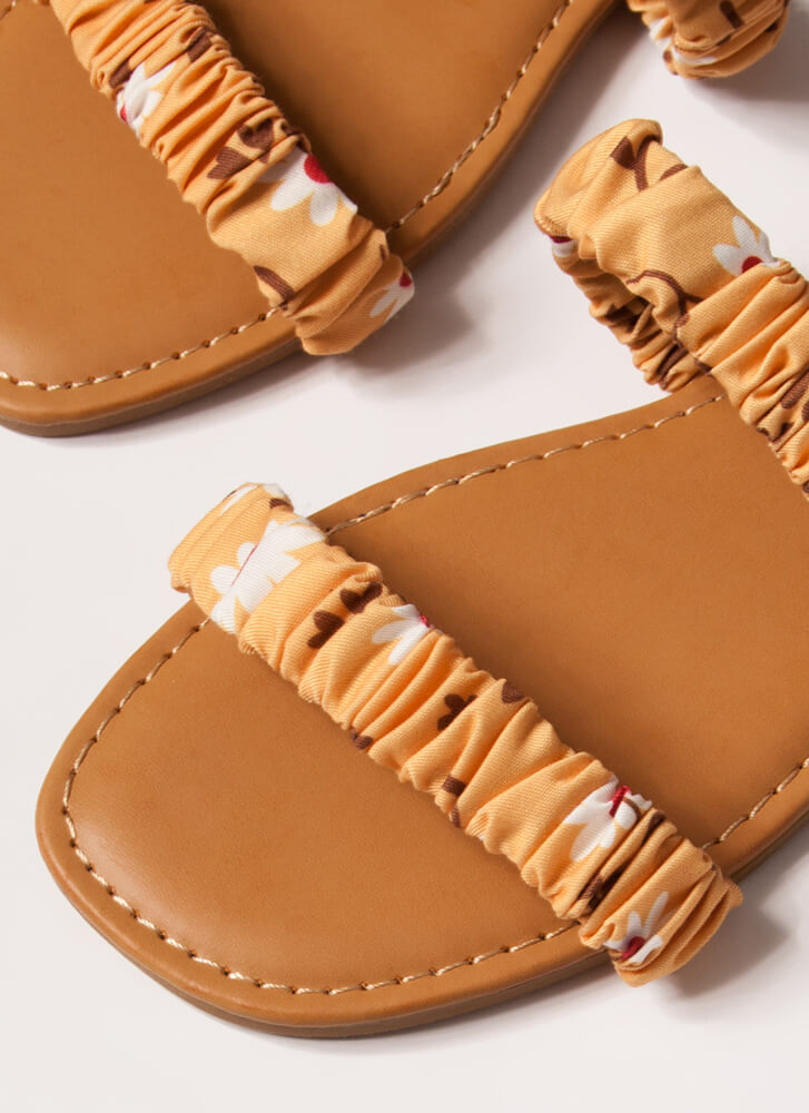 It's Scrunch Time Printed Slide Sandals YELLOW