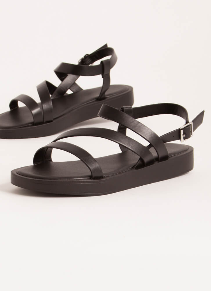Strappy Coincidence Faux Leather Sandals BLACK