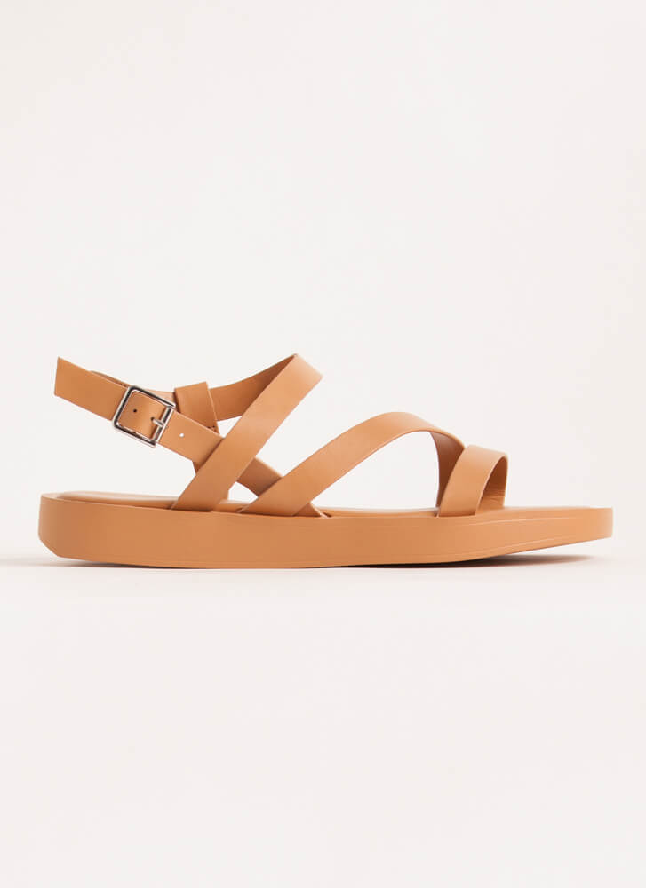 Strappy Coincidence Faux Leather Sandals TAN