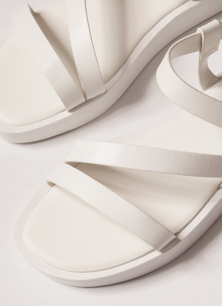 Strappy Coincidence Faux Leather Sandals WHITE