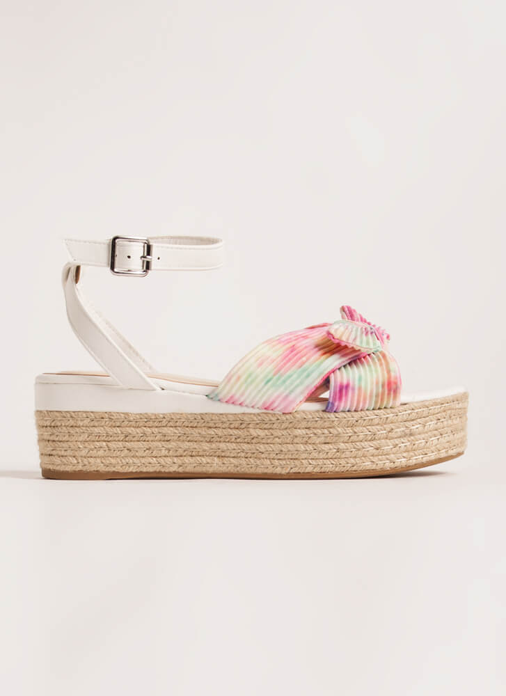Braids And Bows Tie-Dye Wedge Sandals PINK