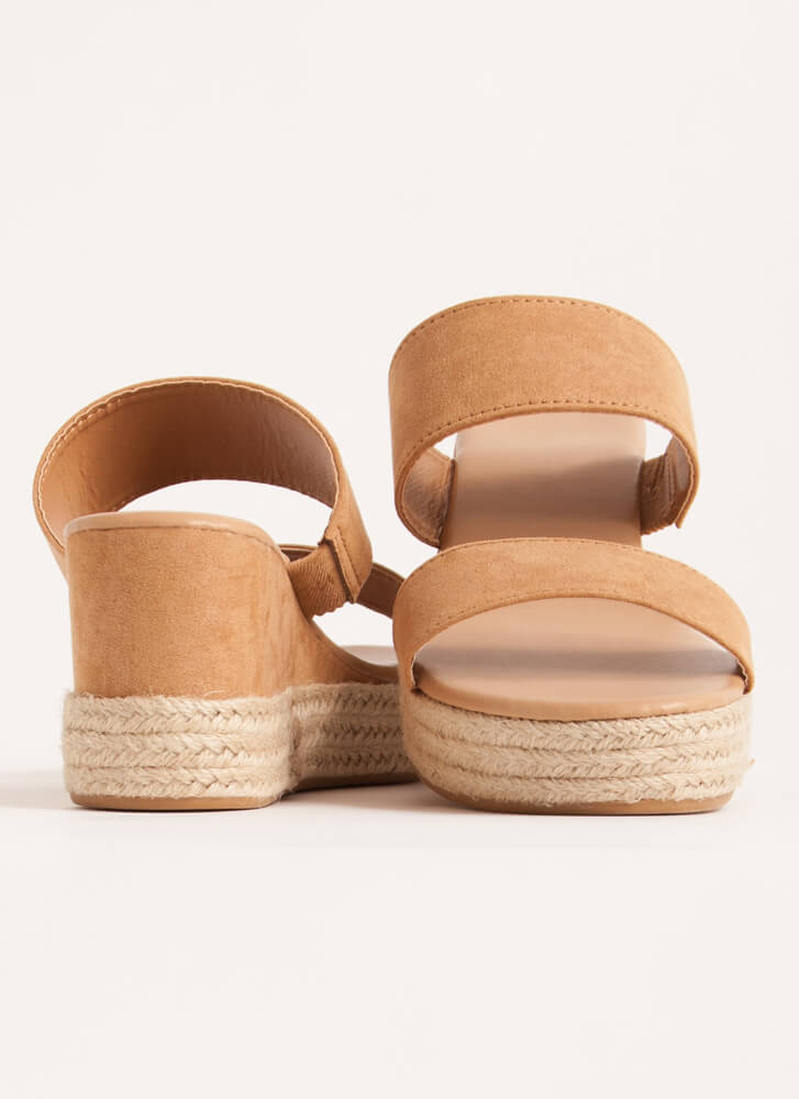 Sunday Brunch Braided Stacked Wedges TAN
