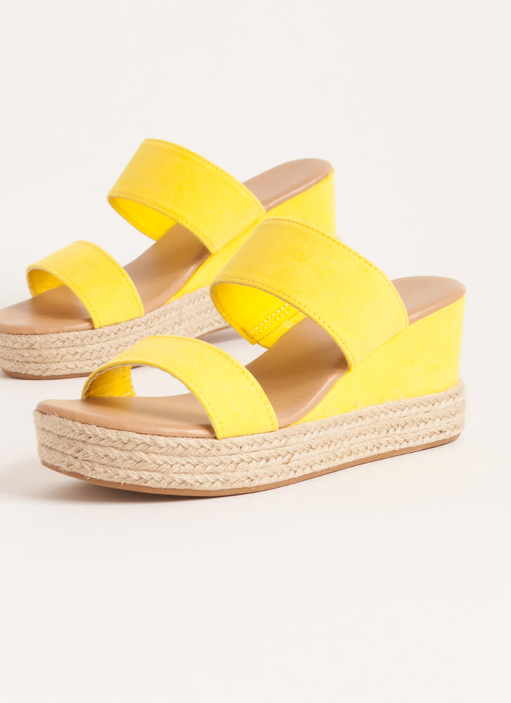 Sunday Brunch Braided Stacked Wedges YELLOW