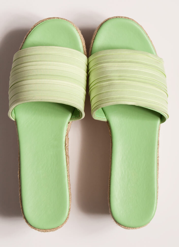Just Say Pleats Braided Slip-On Wedges MINT