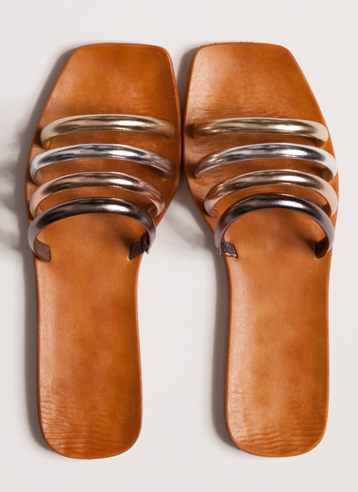 Ready 4 The Weekend Cord Strap Sandals METALLIC