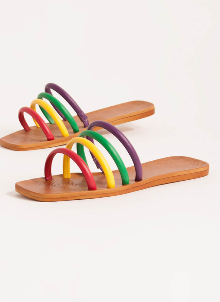 Ready 4 The Weekend Cord Strap Sandals RAINBOW