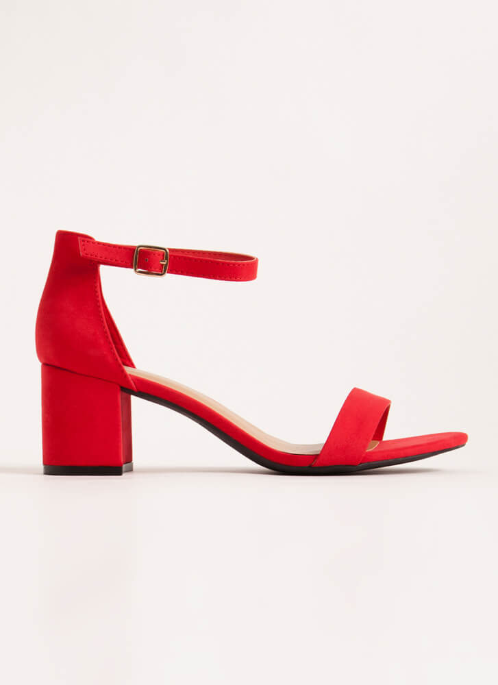 Up My Alley Faux Suede Block Heels RED