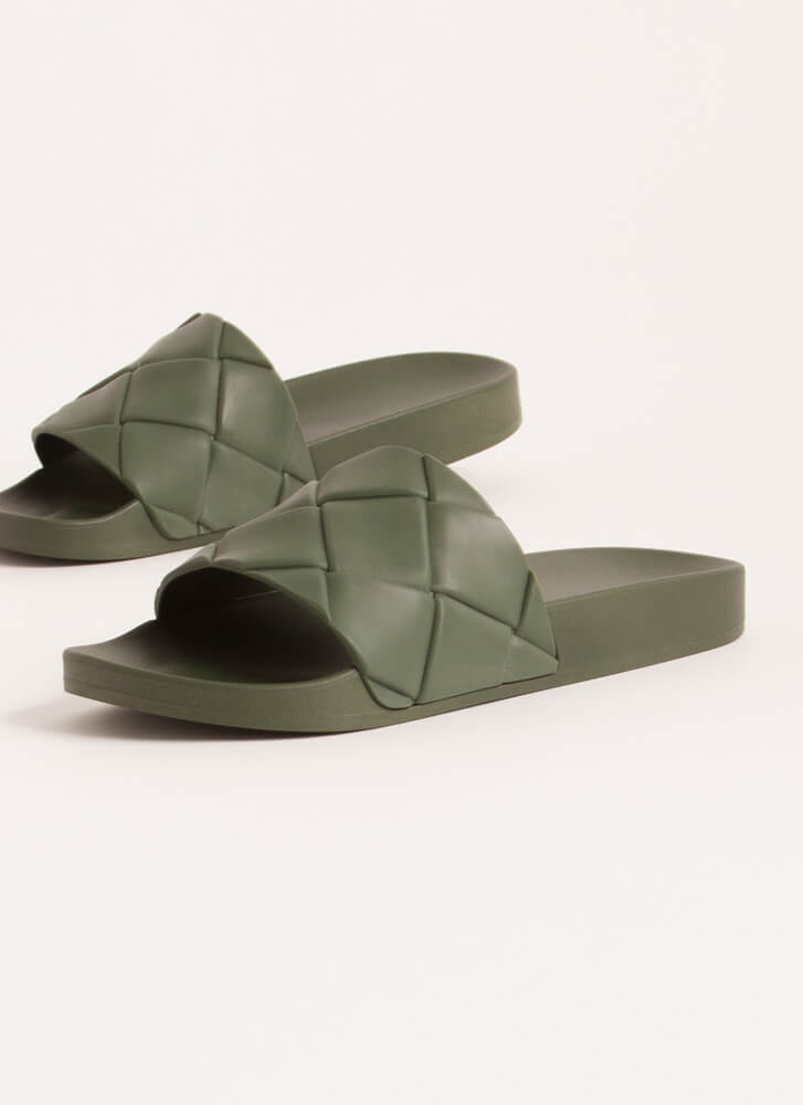 Come Thru Woven Jelly Slide Sandals OLIVE