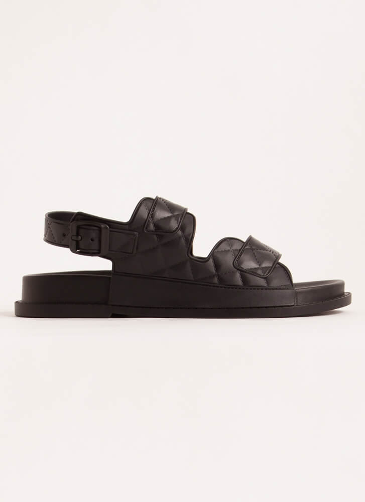 Hard At Play Faux Quilted Jelly Sandals BLACK