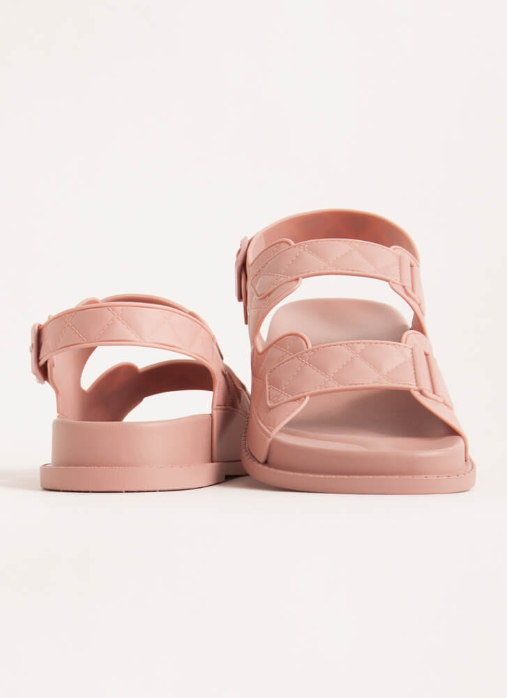 Hard At Play Faux Quilted Jelly Sandals BLUSH