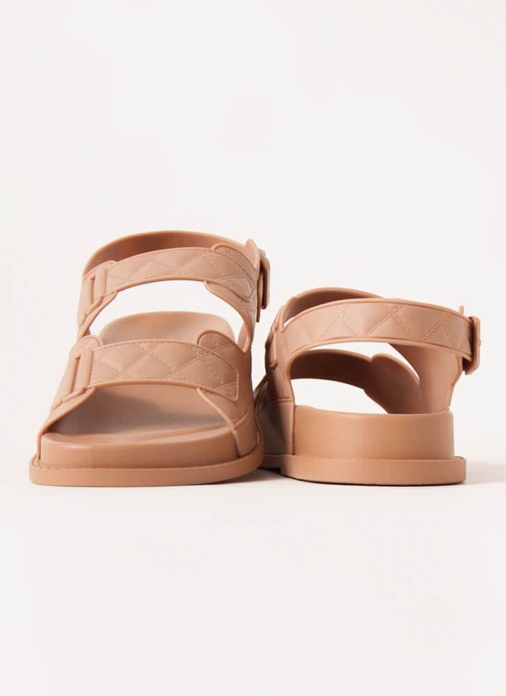 Hard At Play Faux Quilted Jelly Sandals NATURAL