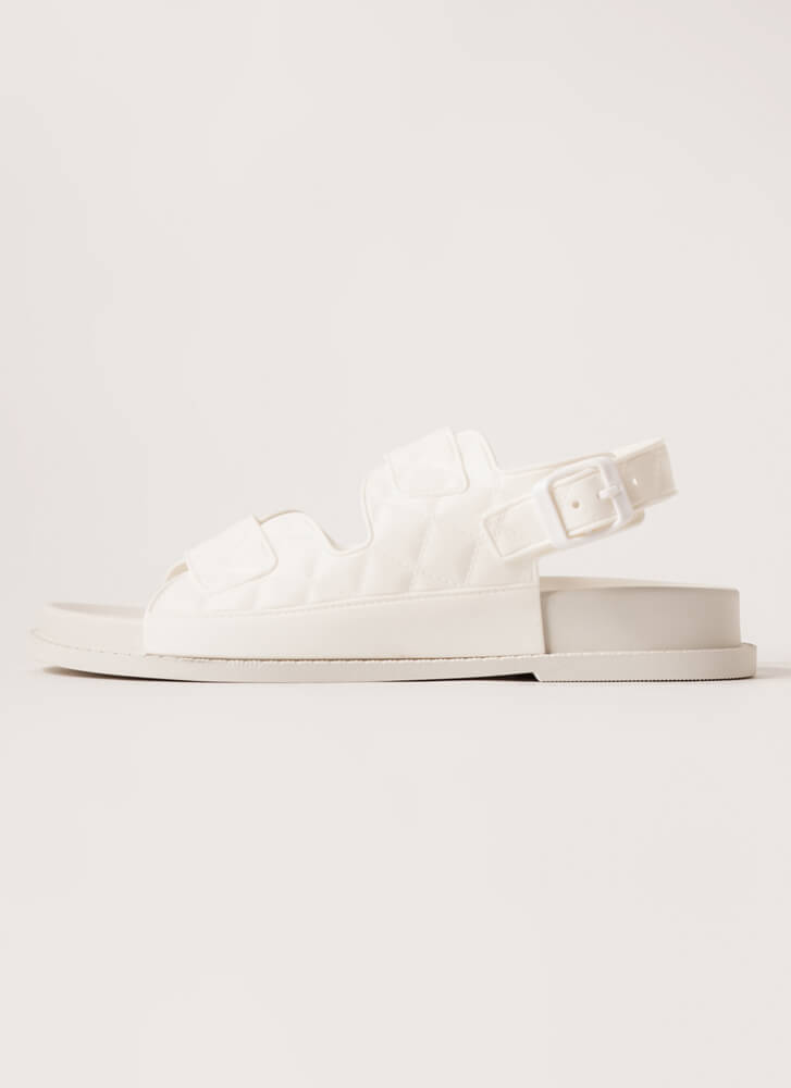 Hard At Play Faux Quilted Jelly Sandals WHITE
