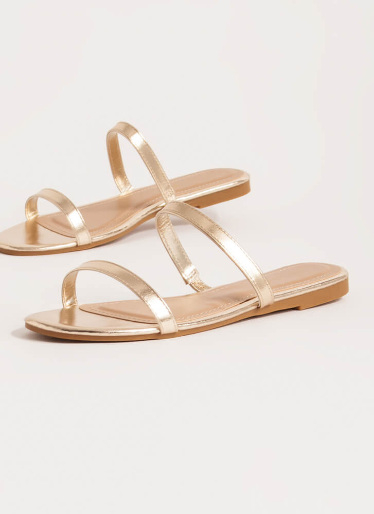 Two Strappy Metallic Slide Sandals GOLD