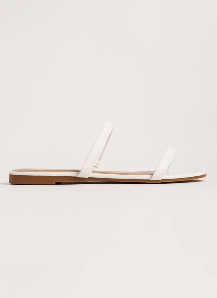 Two Strappy Faux Leather Slide Sandals WHITE