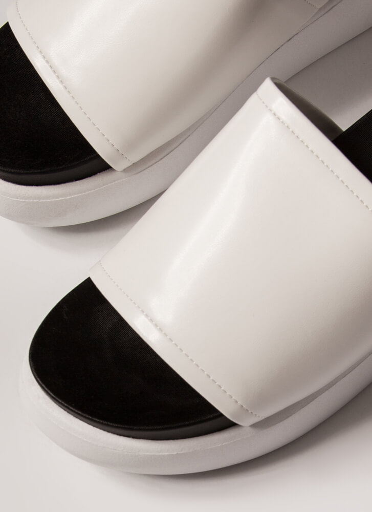 Stack Up Thick Platform Wedge Sandals WHITE