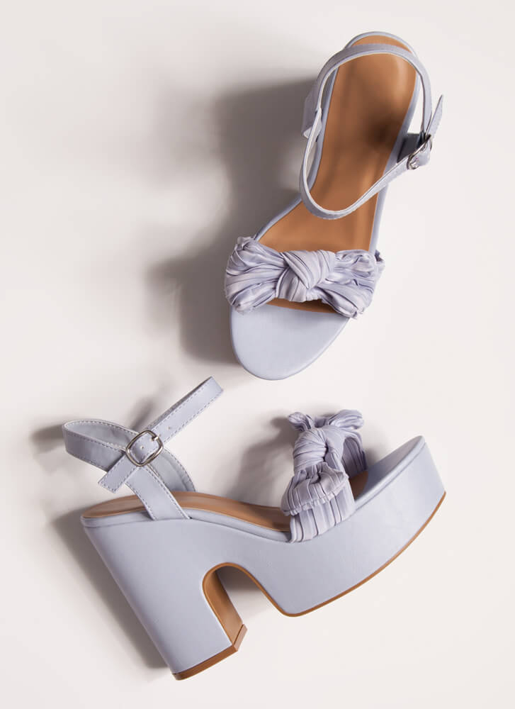 Bow Out On A High Super Chunky Platforms BLUE