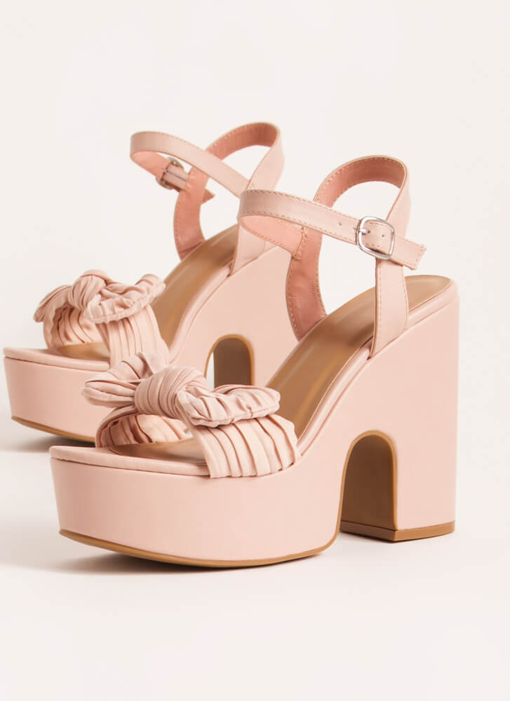 Bow Out On A High Super Chunky Platforms BLUSH