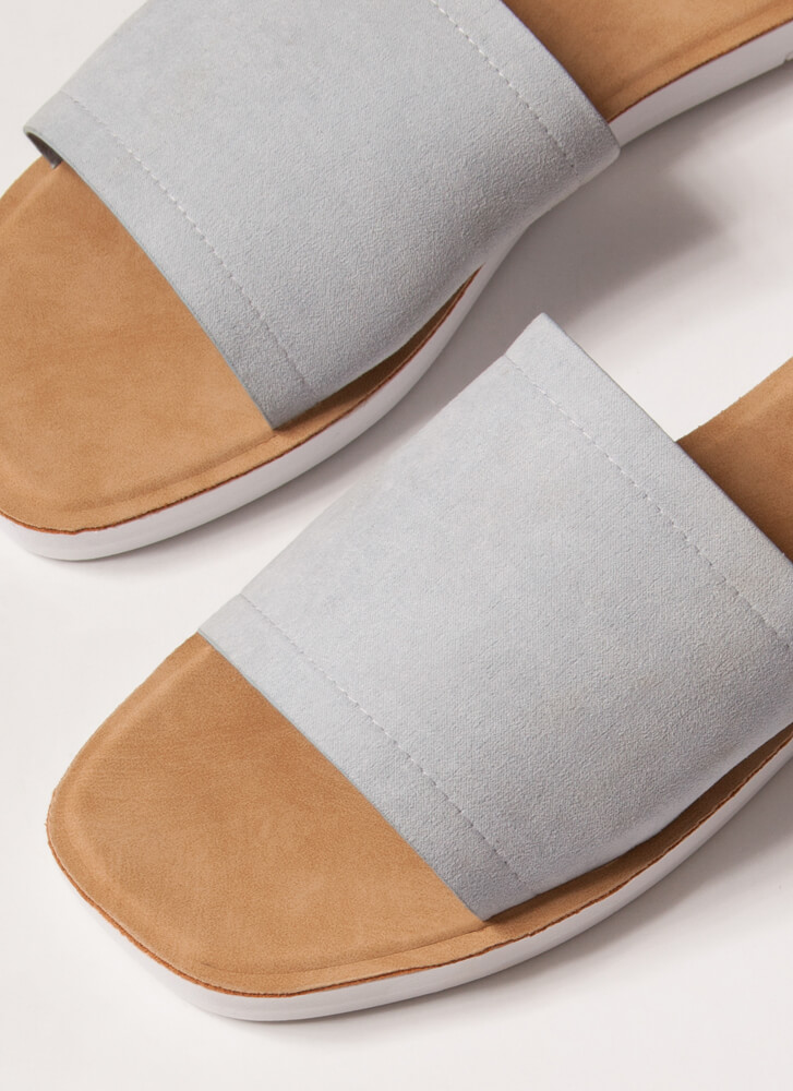 Weekend Outing Faux Suede Slide Sandals BABYBLUE
