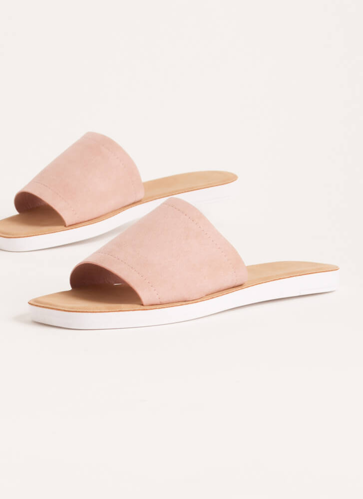 Weekend Outing Faux Suede Slide Sandals BLUSH
