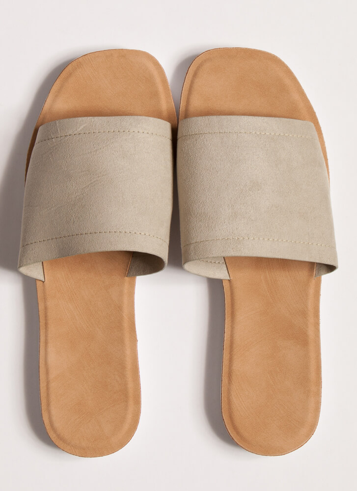 Weekend Outing Faux Suede Slide Sandals DESERTSAGE