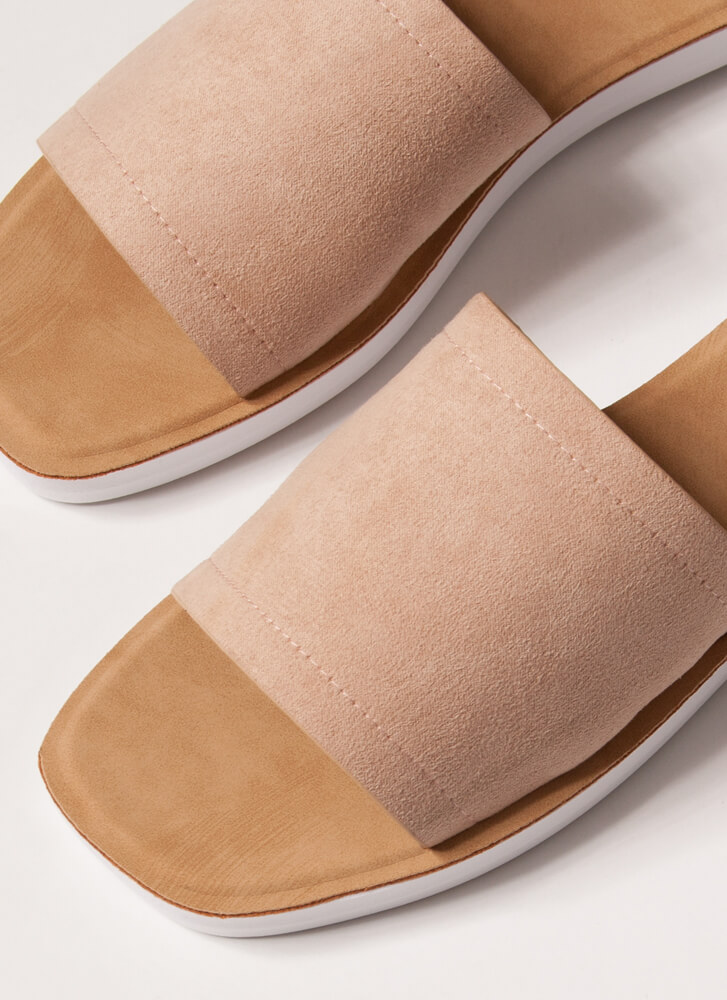 Weekend Outing Faux Suede Slide Sandals NUDE