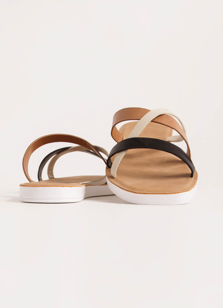 Every Which Way Tri-Color Slide Sandals BLACK