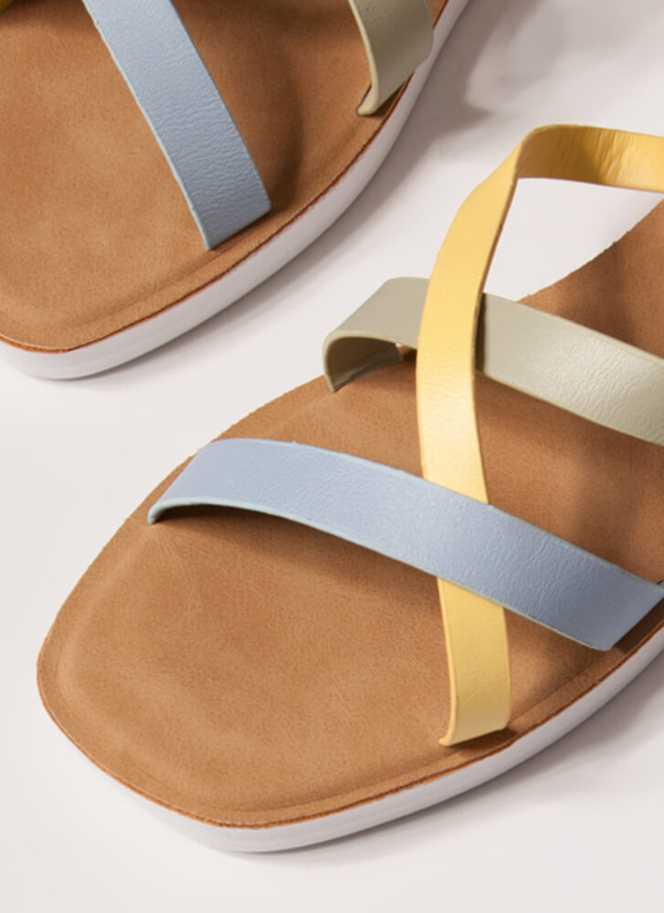 Every Which Way Tri-Color Slide Sandals BLUE