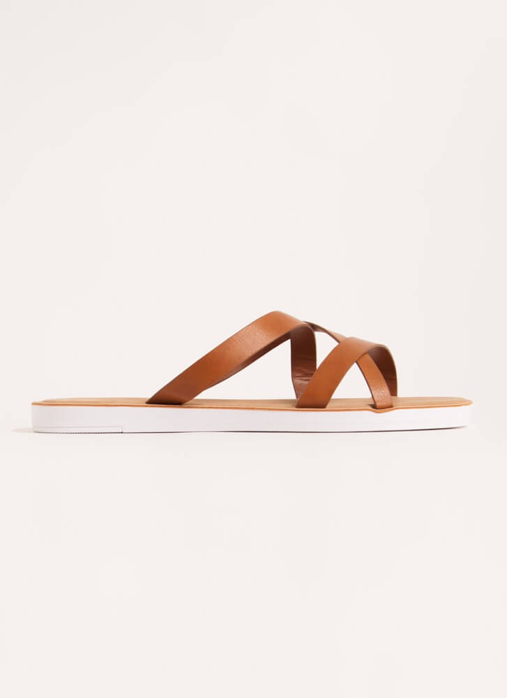Every Which Way Strappy Slide Sandals TAN
