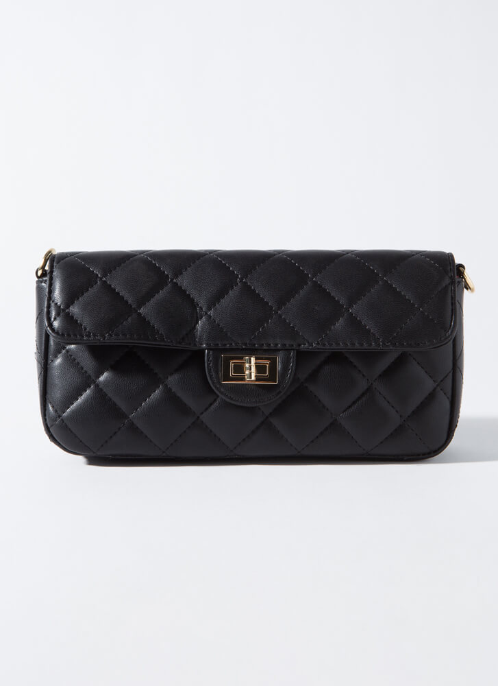 Classy Lady Quilted Baguette Bag BLACK