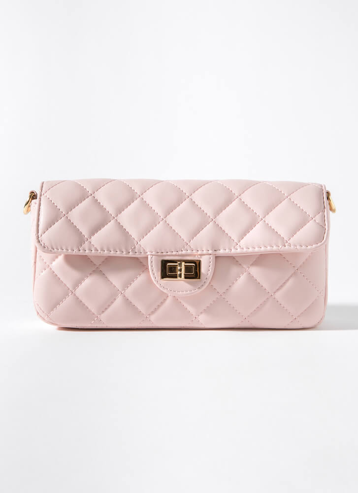 Classy Lady Quilted Baguette Bag PINK