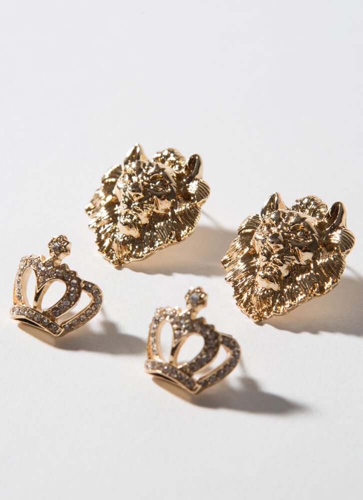 Crowned Lion Queen Jeweled Earring Set GOLDCLEAR