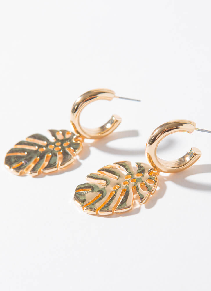 Palm Away With Me Leaf Charm Earrings GOLD