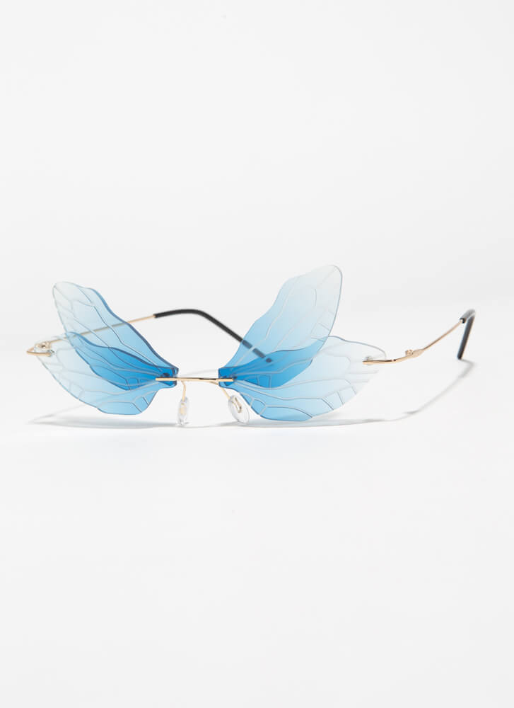 Spread Your Wings Veined Sunglasses BLUE