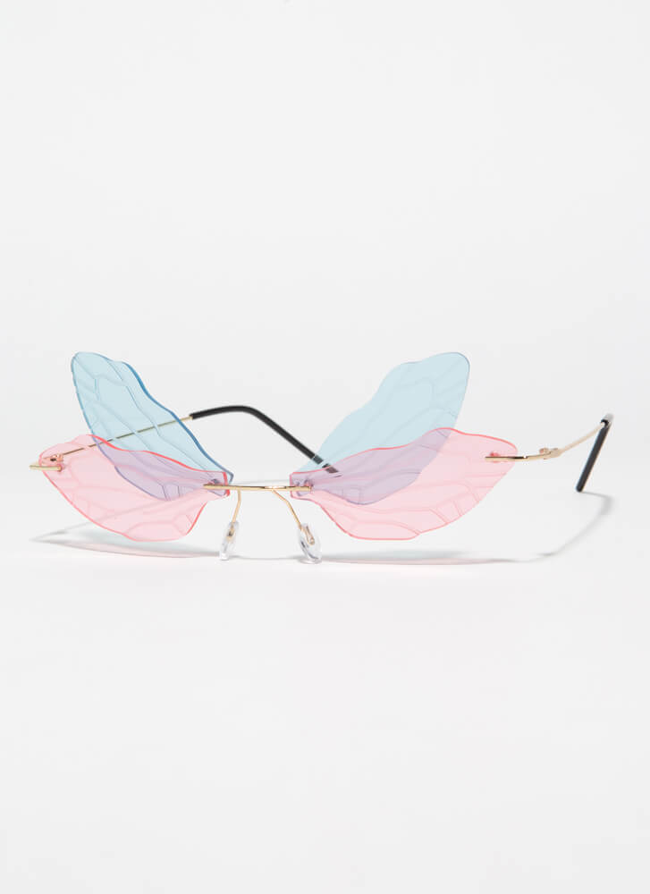 Spread Your Wings Veined Sunglasses BLUEPINK