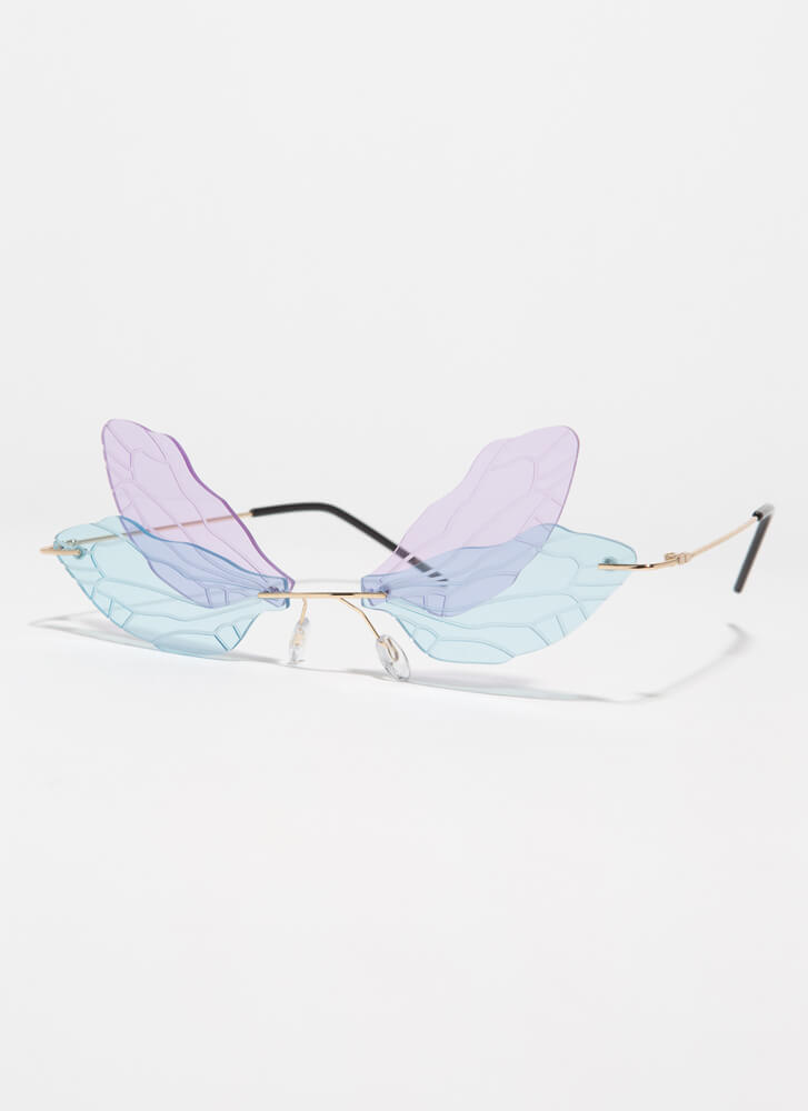 Spread Your Wings Veined Sunglasses PURPLE