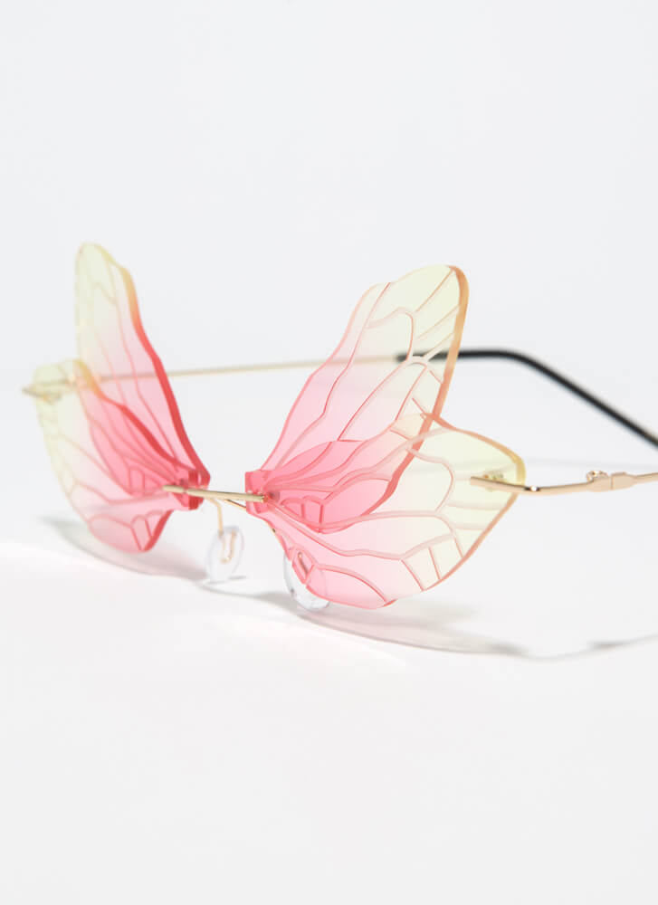 Spread Your Wings Veined Sunglasses YELLOW