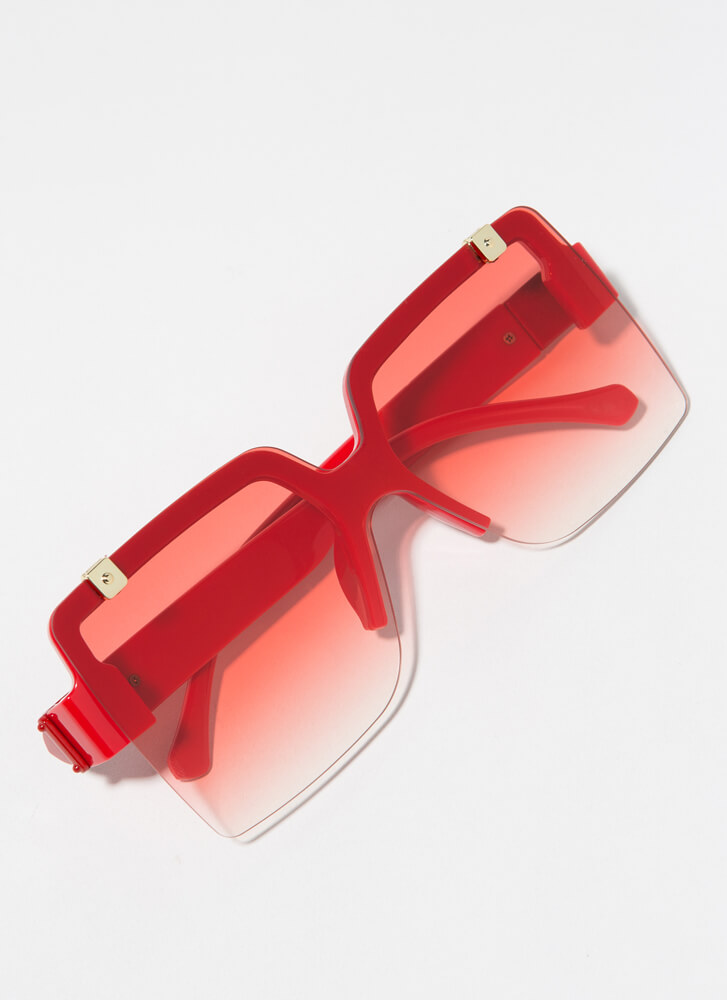 Flip-Up To You Square Sunglasses RED
