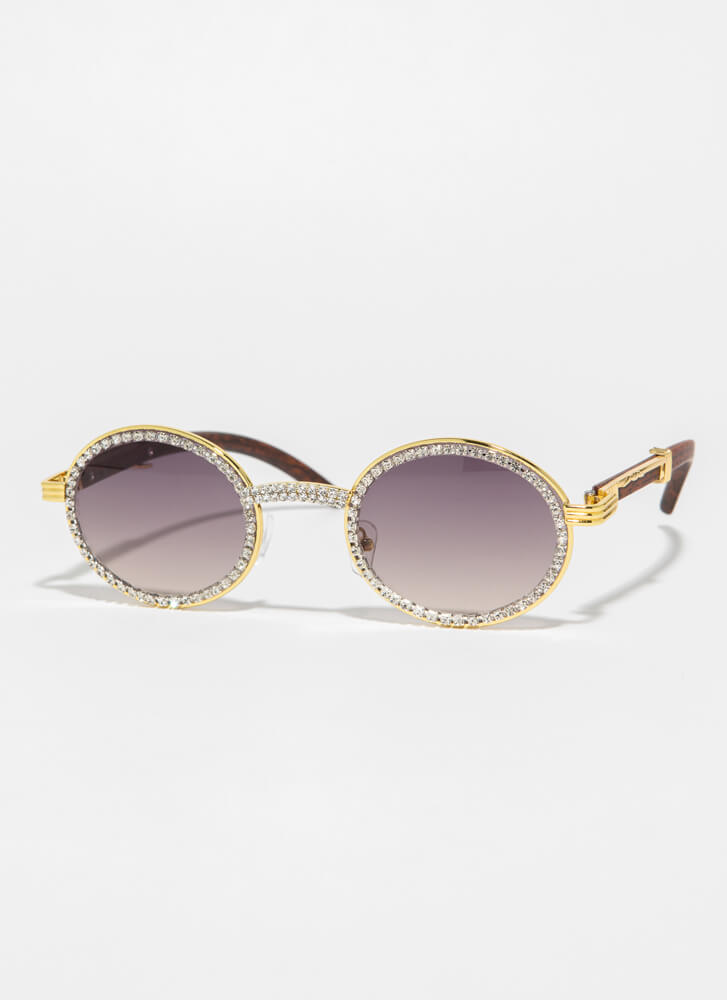 If You Wood Round Jeweled Sunglasses BROWN