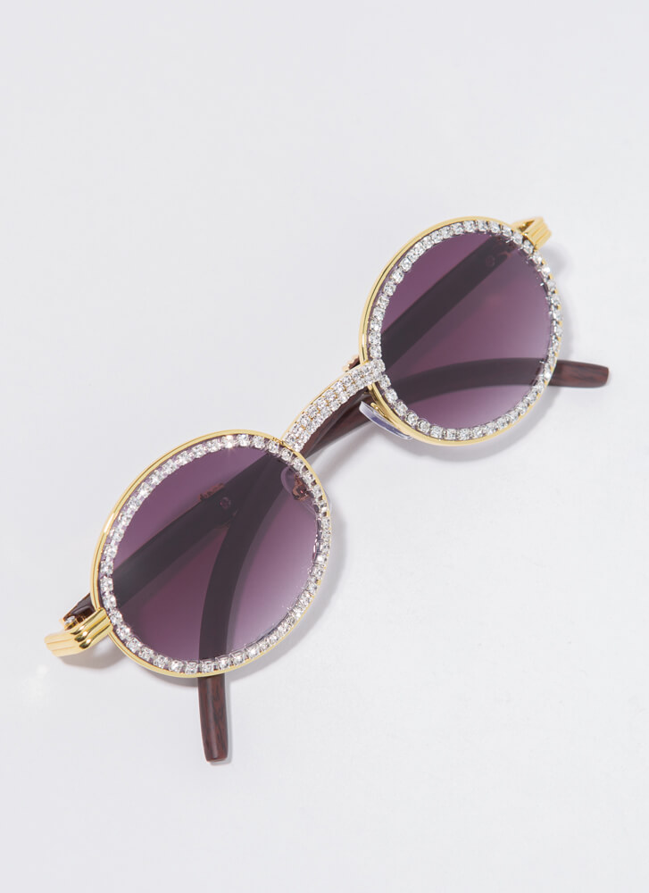 If You Wood Round Jeweled Sunglasses DKBROWN