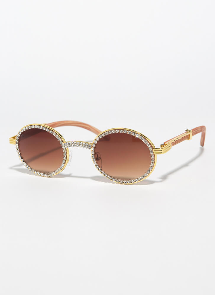 If You Wood Round Jeweled Sunglasses LTBROWN