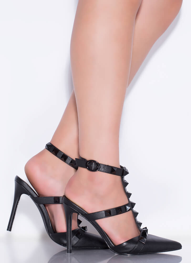 Extra Edge Pointy Studded Caged Heels BLACK