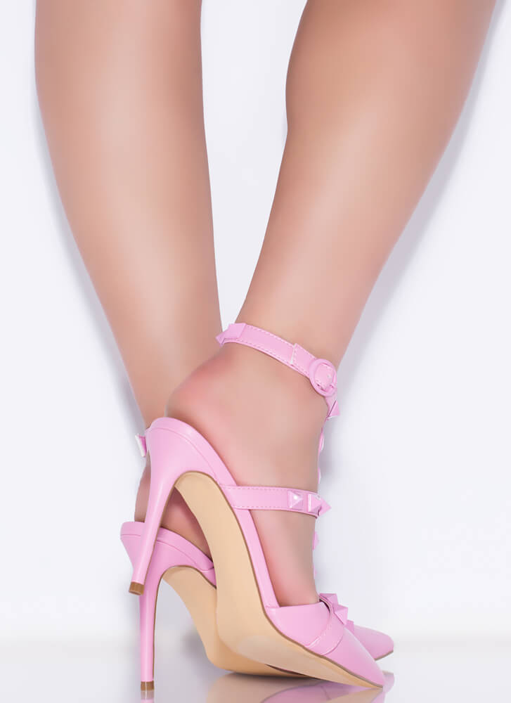 Extra Edge Pointy Studded Caged Heels PINK