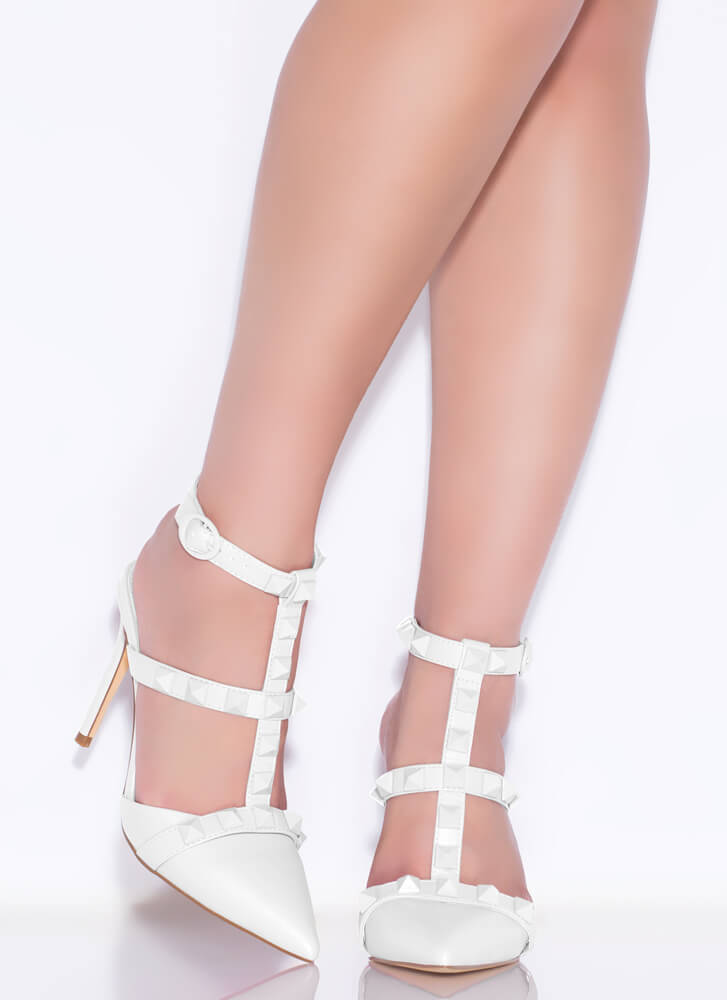 Extra Edge Pointy Studded Caged Heels WHITE