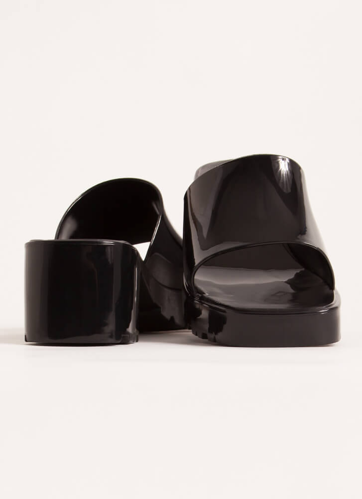 You So Jelly Chunky Block Heel Sandals BLACK