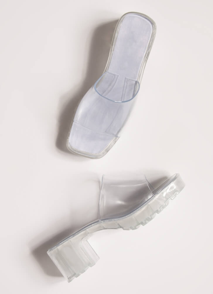 You So Jelly Chunky Block Heel Sandals CLEAR